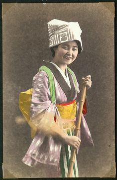 Young woman, Japan. #japan #photography #vintage #handcoloured #handcolored #colored
