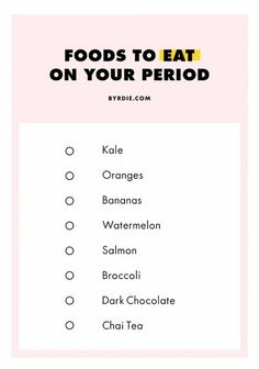 Did you know Kale has a ton of calcium in it and so it's really good at easing period symptoms? So, yeah we love this list of what to eat while on your period. It all looks so good too! Probz good to eat it all in 1 day, right?
