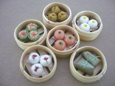 Set of 6 Dim Sum Chinese Cuisine Handmade Dollhouse Miniatures Food Supply Deco3 (one of 3 Dim Sum sets)