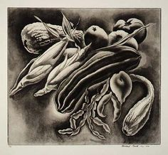 Summer Vegetables, 1930, Howard Cook, aquatint and etching on paper, 9 1/8 x 10 1/8 in. (23.1 x 25.8 cm), Smithsonian American Art Museum, Gift of Barbara Latham