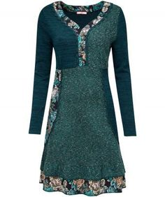 """Mix it up this winter with this super dress. Mixing knit and jacquard panels, it's a quirky choice for catching up with friends or going out and about on the weekend. We've added floral accents to keep it fresh and bright. Approx Length: 92cm Our model is: 5'7"""""""