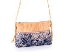 Cork Crossbody bag Natural Cork Color & ethnic blue /