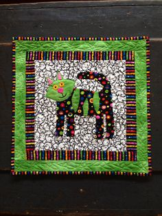 Whimsical Green Cat Quilted  Wall Hanging