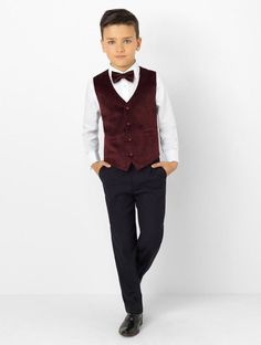 9c7707652eb35 Shop for boys burgundy velvet waistcoat suit Oscar at Roco. Perfect as a  page boy suit with free UK delivery & 30 day returns.