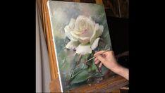 Dessin et peinture - vidéo 1240 : Une belle rose blanche à la peinture à l'huile.