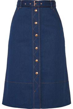 Rag & Bone Branson Belted Denim Skirt, Indigo