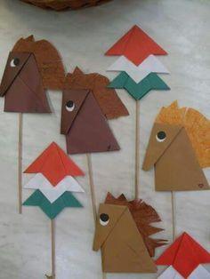 Craft Activities For Kids, Preschool Crafts, Crafts For Kids, Horse Crafts, Animal Crafts, Independence Day Activities, Cultural Crafts, Montessori Art, Kids Origami