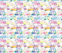Colourful Watercolor Campervans fabric by emmaallardsmith on Spoonflower - custom fabric