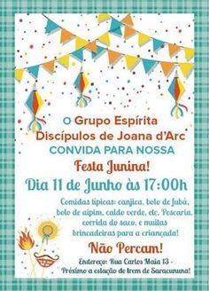 O Grupo Espírita Discípulos de Joana D´Arc Convida para a sua Festa Junina Beneficente -  Duque de Caxias – RJ - http://www.agendaespiritabrasil.com.br/2016/06/09/o-grupo-espirita-discipulos-de-joana-darc-convida-para-sua-festa-junina-beneficente-duque-de-caxias-rj/