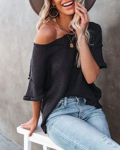 Tops – Page 20 – VICI Dress Bar, Ribbed Fabric, Distressed Denim, Half Sleeves, Spring Summer Fashion, Fashion Outfits, Fashion Trends, Knitting, Charcoal