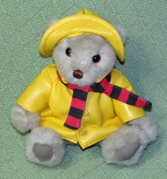Gund BIALOSKY Teddy Bear Jointed Tan Plush + Yellow RAINCOAT Slicker Hat Scarf #GUND