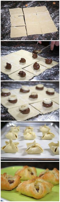 Nutella and Banana Pastry Purses. These are so easy to make and only take a few minutes. 1 sheet frozen puff pastry dough Nutella 1 banana some Just Desserts, Delicious Desserts, Dessert Recipes, Yummy Food, Snacks Recipes, Puff Pastry Dough, Nutella Puff Pastry, Phyllo Dough, Nutella Recipes