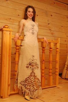 Лен платье вечернее