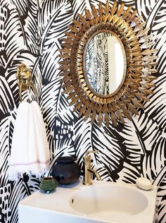 Some of the best small bathroom ideas, squeezed into 55 square feet! Awesome Anthropologie Mirror!