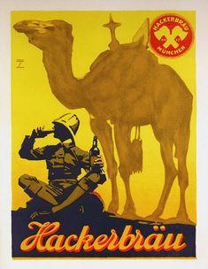 Ludwig Hohlwein » Hackerbräu-Munich Beer (c.1920) by Susanlenox, via Flickr