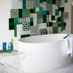 I love mosaic!creating it in a bathroom great idea!great colour choice too!