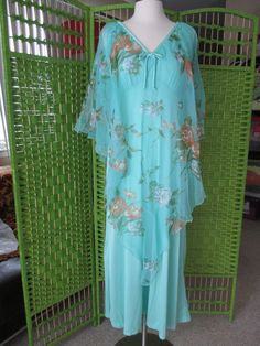 #VINTAGE #1970s #BUTTERFLY seafoam polyester #CHIFFON cape PARTY #GOWN #MAXI  #MaryMartinFlorida #madmen