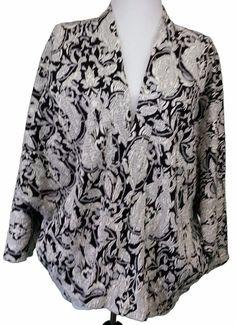 Asos Open Front Cardigan Jacket Womens sz 6 Tapestry Black White kimono #Asos #Blazer