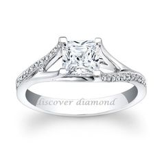1.00Ct Princess Cut Diamond Solitaire Engagement Ring In Solid 14K White Gold #DiscoverDiamonds #SolitairewithAccents