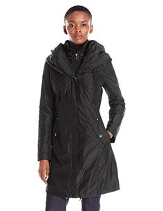 Laundry By Shelli Segal Womens Windbreaker W Pillow Collar and Bib Black L ** Check out this great product.