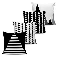 Conjunto 4 Almofadas Decorativas Geometricas - BLACK WHITE-14