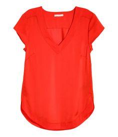 V-ringad satinblus   Röd   Ladies   H&M SE