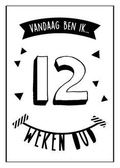 Vandaag ben ik 12 weken oud! Baby mijlpaalkaarten van studio zwartwit www.studiozwartwit.nl/shop