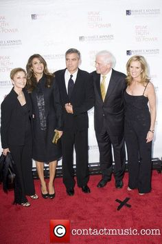 Elisabetta Canalis, George Clooney, Nick Clooney and Kerry Kennedy at the Robert F. Kennedy Center for Justice & Human Rights Ripple of Hope awards dinner at Chelsea Piers. New York City, USA - 17.11.10