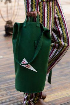 Bode Fall 2020 Men's Fashion Show Details Men Fashion Show, Fashion Bags, Men's Fashion, Green Fashion, Baggage, Dandy, Emerald Green, Bucket Bag, Belts