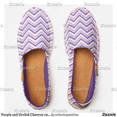 Purple and Orchid Chevron on White Espadrilles