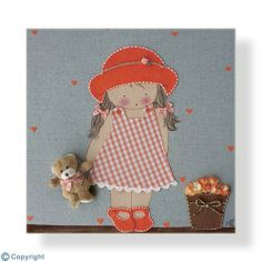 Cuadro infantil personalizado: Niña con sombrero vestidito y osito (ref. 12009-05)