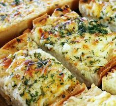 Bubbly Cheese Garlic Bread - This easy, cheesy garlic bread makes a delicious appetizer, or enjoy it as part of your dinner when you serve your favorite pasta dish.