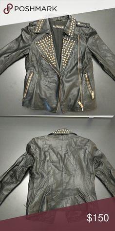 Zara premium leather jacket Beautiful, soft, metal studded leather jacket. Brand new, only worn twice! Zara Jackets & Coats