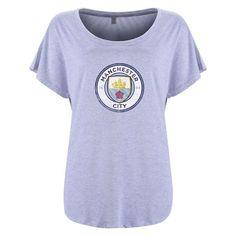 Manchester City FC Aged Crest Womens T-Shirt (Gray)