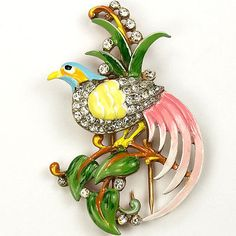 Trifari 'Alfred Philippe' Pave and Enamel Bird of Paradise on Branch Pin Clip