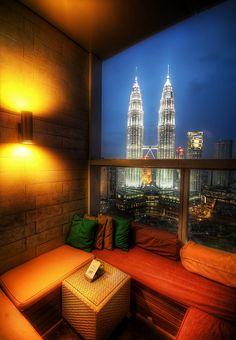 Kuala Lumpur, Malaysia.  Talk about a room with a view!    ASPEN CREEK TRAVEL - karen@aspencreektravel.com