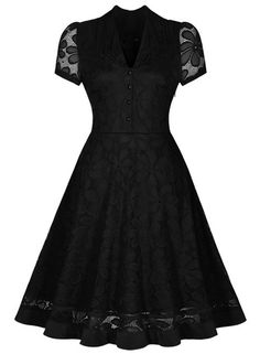 Women's Black Lace V Neck Short Sleeve Swing Dress.Check more from www.oasap.com .