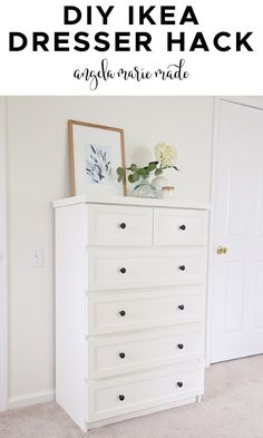 An easy IKEA dresser hack that looks classic and chic. Learn how to paint IKEA laminate furniture too with this IKEA MALM dresser hack! And learn how to repair IKEA dresser drawers. Budget friendly bedroom makeover! Ikea Tarva Dresser, Dresser Drawers, Laminate Furniture, Diy Furniture Hacks, Diy Home Decor On A Budget, Diy Table, Paint, Ikea Hacks, Bedroom