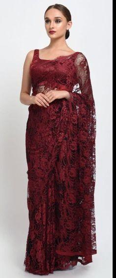 Maroon- Black French Chantilly Lace Saree With Satin Crepe Blouse Lace Saree, Satin Saree, Net Saree, Saree Dress, Trendy Dresses, Elegant Dresses, Nice Dresses, Trendy Sarees, Stylish Sarees