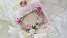 Wedding Gift Tag Vintage Rose Lace Collage by underthenightmoon, $12.00