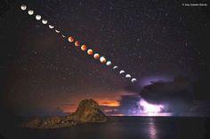 Secuencia del eclipse de luna sobre la isla de Ibiza, España (José Antonio Hervás, 2015)