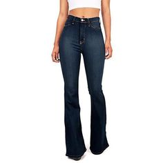 5b4a759036263 Plus Size Fashion Tight Flare Trousers Elastic Hight Waist Jeans. High  Waist Jeans