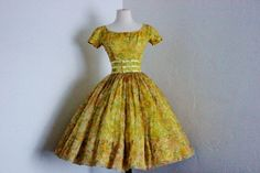 vintage 1950's Gigi Young yellow floral chiffon full by dLeChe, $260.00