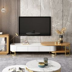 Modern to Extending TV Stand with Storage Oval White Natural/White Black Media Console - TV Stands - Living Room Furniture - Furniture Modern Tv Cabinet, Tv Cabinet Design, Modern Tv Wall, Tv Wall Design, Tv Unit Design, Tv Console Modern, Modern Contemporary, Living Tv, Living Room Tv Unit