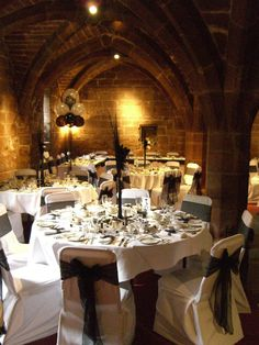 This impressive stone vaulting is the Undercroft at St Mary's Guildhall, an atmospheric wedding venue in Coventry