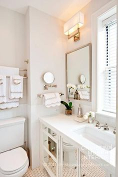 great small white NYC bathroom by christina murphy