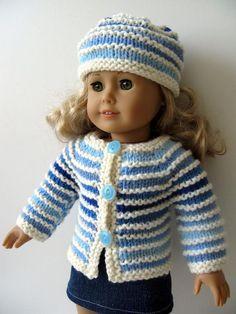 Winter Blues OMBRE destash doll sweater made based on my OMBRE destash pattern