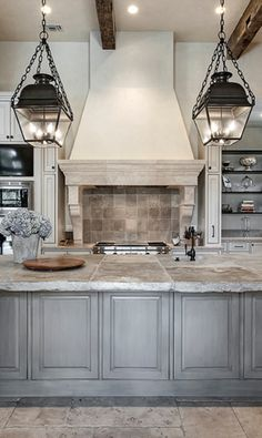 Kitchen - A light blue kitchen would be much less harsh in contrast to white marble then a dark kitchen and its more warm and inviting the a white one (cabinets more in the style of the butlers pantry)                                                                                                                                                     More