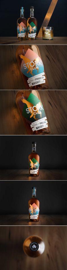 Stork Club whiskey design by Editienne - Kommunikationsdesign Beverage Packaging, Bottle Packaging, Label Design, Branding Design, Design Packaging, Package Design, Graphic Design, Brewery Design, Advertising Design