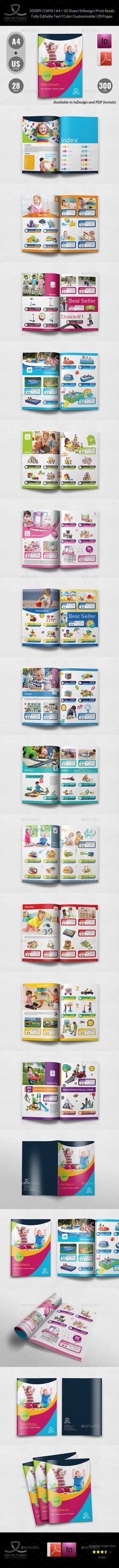 Toys Products Catalog Brochure Template InDesign INDD - 28 Pages
